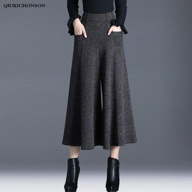 ฤดูหนาวกางเกงผู้หญิงสูงเอวข้อเท้าความยาวขนสัตว์กางเกงขากว้าง culottes กางเกงกางเกงกางเกง pantalon Palazzo mujer