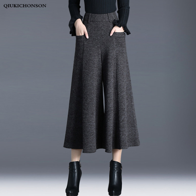 Winter pants women high waisted ankle length wool wide leg pants culottes ladies trousers pantskirt pantalon palazzo mujer