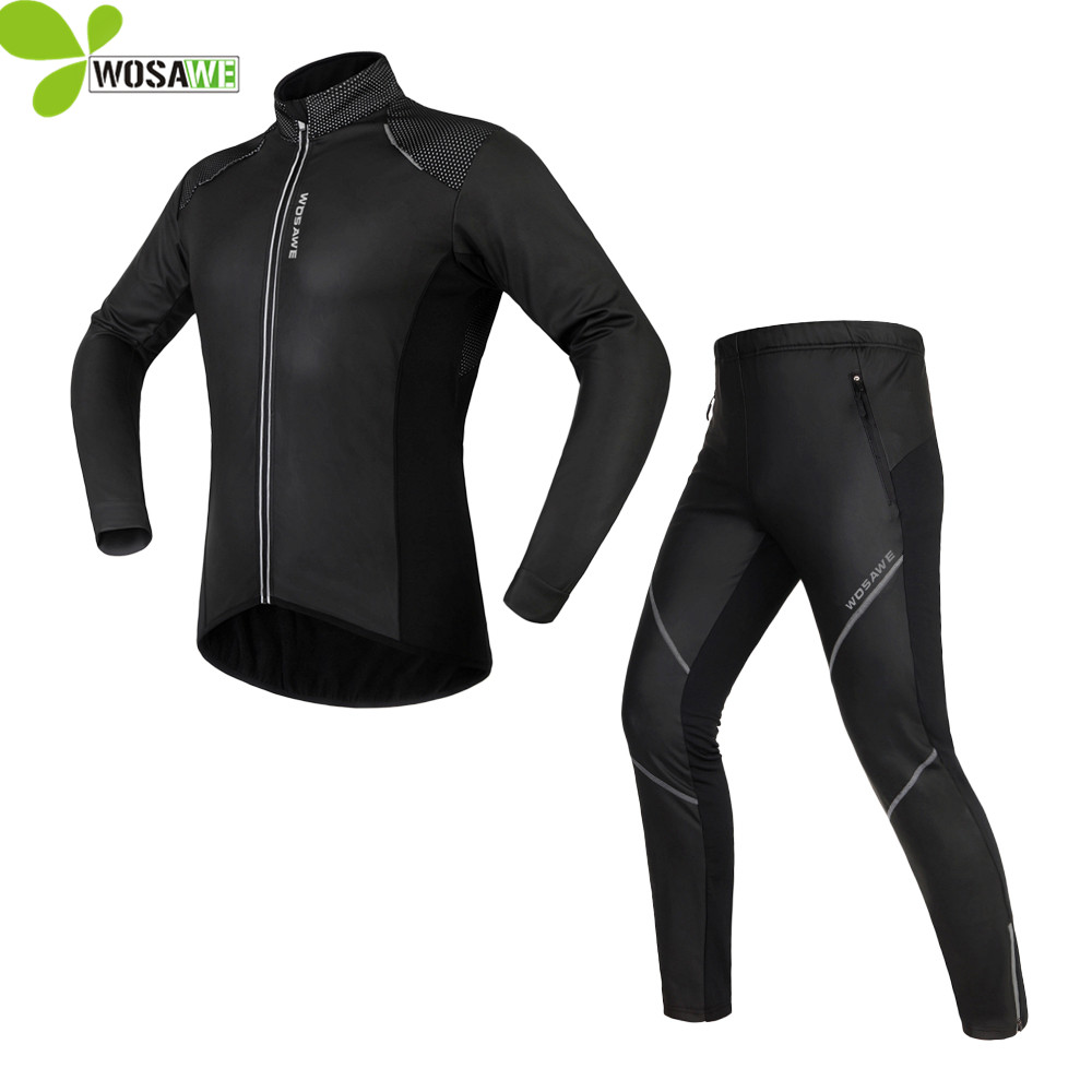 WOSAWE Cycling jersey Jacket Sets Waterproof Windproof Long Sleeve Bike Riding Coat Pants Suits ropa ciclismo cycling clothing купить дешево онлайн