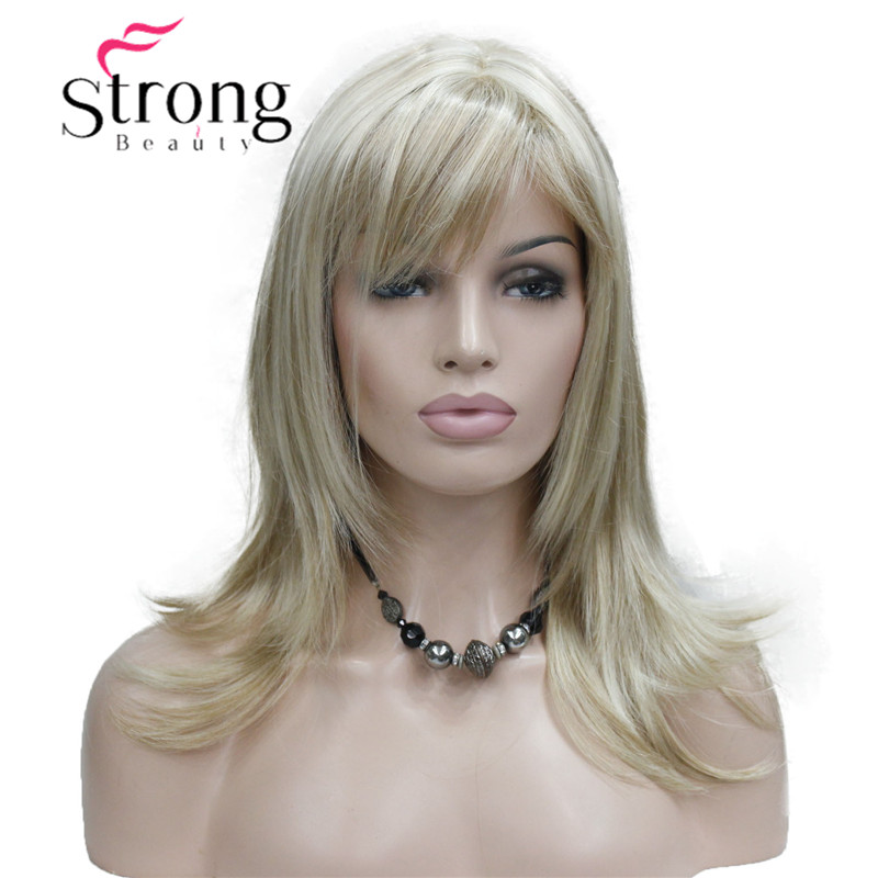 StrongBeauty Long Straight Silky Blonde Highlighted FullSynthetic Wig COLOUR CHOICES