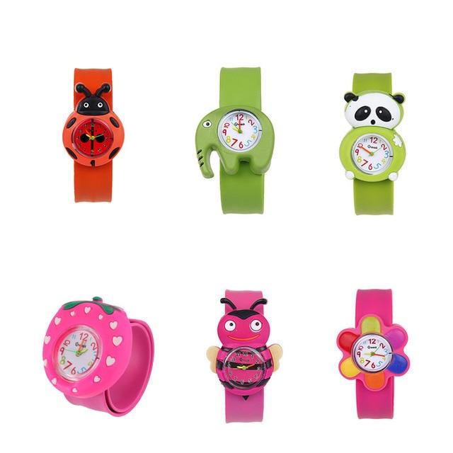 1 Pcs Animal/Plant Shape Children Watches Kids Wrist Quartz Watch Silicone Strap Cute Cartoon Style Fashion Birthday Gift LL@17