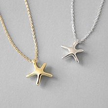 Starfish Charm Necklace Pendant For Women Girl New 2019 Simple Style Starfish Clavicle Chain Choker 925 Sterling Silver Jewelry new lemon starfish costly necklace