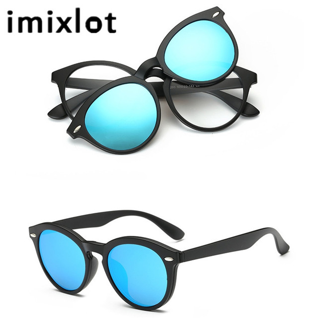 66076006aa8 IMIXLOT Men Women Polarized Magnetic Clip Glasses TR Male Driving Clip On Sunglasses  Magnet Casual Myopia