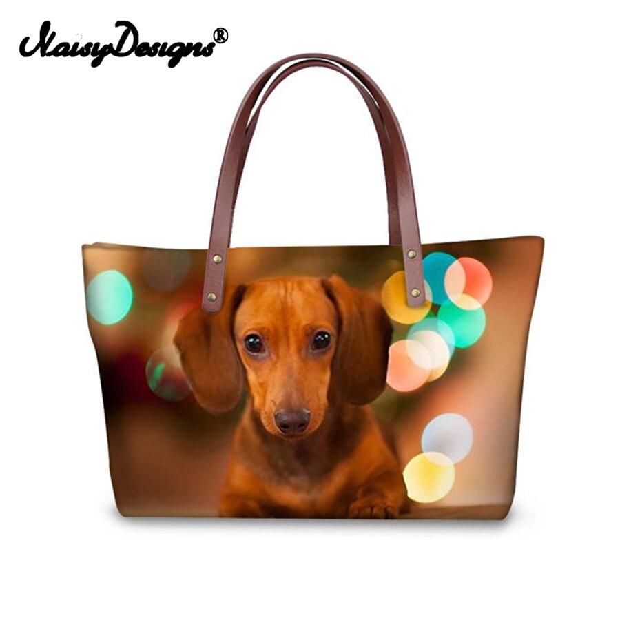 2019 Luxury Women Handbags Dachshund Dog Animals Print Tote Messenger Bags Girl PU Lether Travel Large Shopping Beach Bag Custom