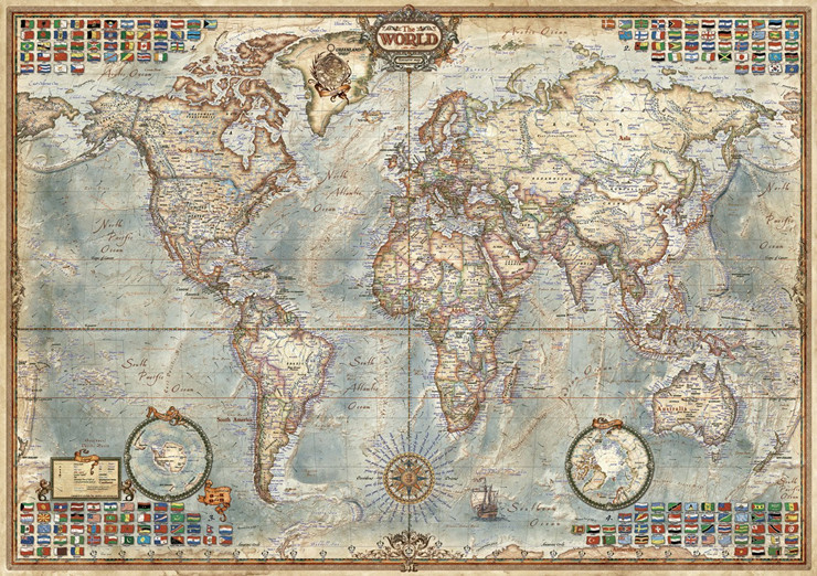 EDUCA AncientWorld Map <font><b>1500</b></font> <font><b>Piece</b></font> <font><b>Jigsaw</b></font> <font><b>Puzzle</b></font> for Adult Gift Toy 86*60cm image