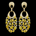 Новый дизайн позолоченный желтый золотой циркон серьги для женщин, высокое качество ювелирных изделий партии/свадебные серьги