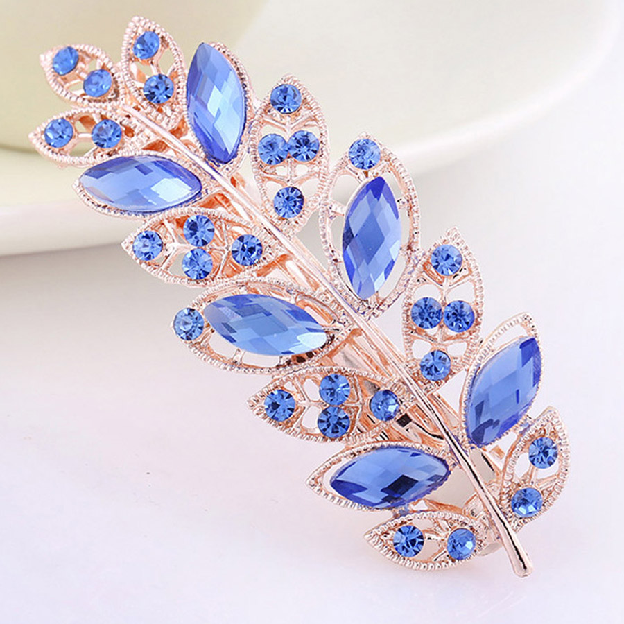 AWAYTR Hairpins For Women Ladies Hair Bows With Silver Clips Leaf Crystal Rhinestone Hair Combs Alloy Horsetail Grab Barretees