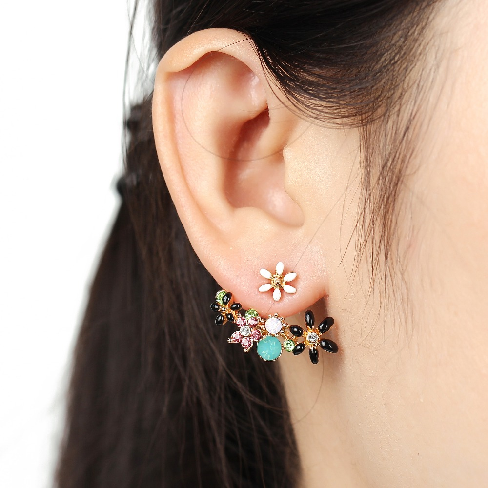 17KM Cute Fashion Gold Color Crystal Stud Earringss