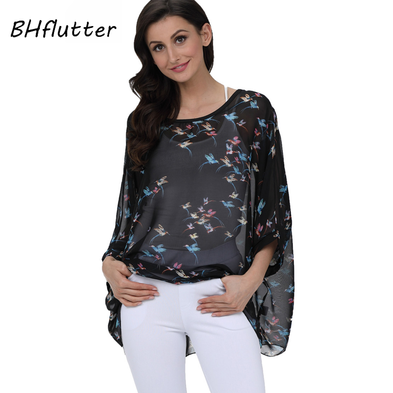 BHflutter 2019 Casual Black   Blouse     Shirt   Women New Arrival Batwing Sleeve Chiffon Tops Tunics Women Casual Chiffon   Blouse   Blusas