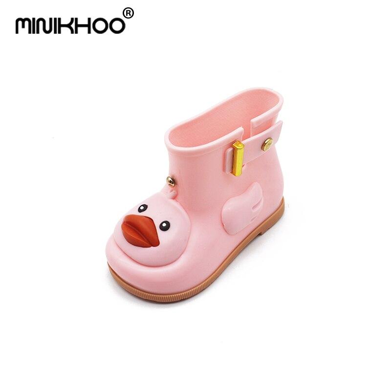 Mini Melissa 2018 Duck Rain Boots Cartoon Jelly Boots Mickey Minnie Children Rain Boots Baby Boots Girls Sandals Mini Melissa