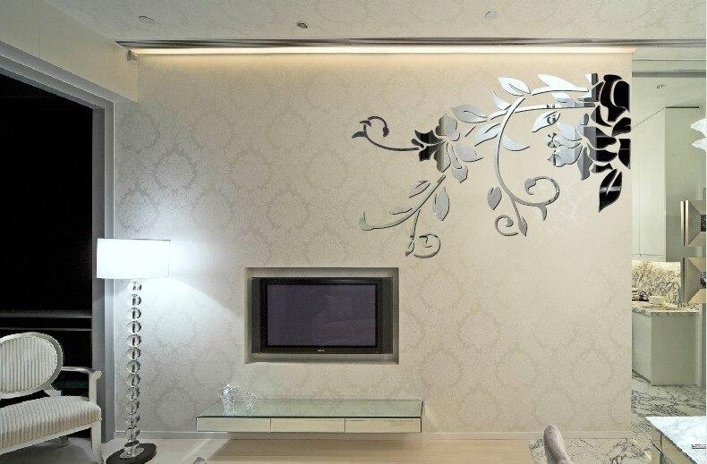 Livraison gratuite TV fond décoratif mur miroir autocollant, 3D miroir autocollant, acrylique mur miroir autocollant