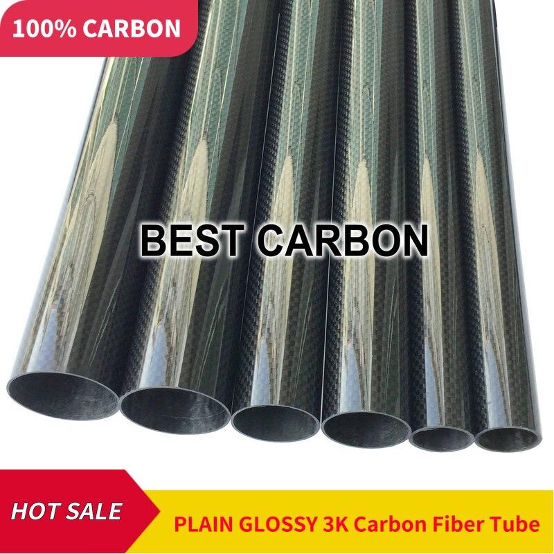 Free Shiping 2000mm Length Plain Glossy 3K Carbon Fiber Fabric Wound Tube