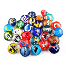 Hot Selling Mix 32pcs Glass Football Sports Teams Snap Button Jewelry 18MM Buttons Charms Fit 18mm Necklaces Bracelets
