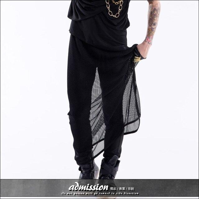 Trend мужская одежда мода все матч личность перспектива сетки шаровары юбка певец танцор костюм DJ сценическое шоу