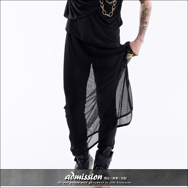 Trend men's clothing fashion all-match personality perspective mesh harem pants skirt male singer dancer costume DJ stage show