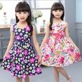 Nuevos 2017 de los bebés vestidos de impresión bowknot un line lemon princesa vestido de algodón sin mangas de los niños vestidos de la muchacha ropa vestidos
