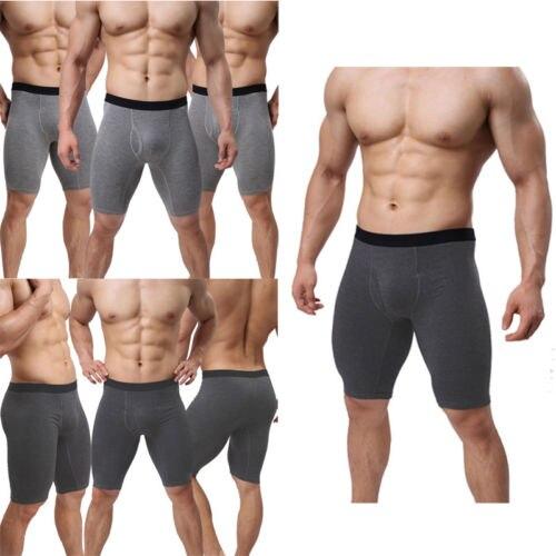 2018 Men Underwear Mid-waist Boxers Shorts Convex Pouch Long Leg Underpants