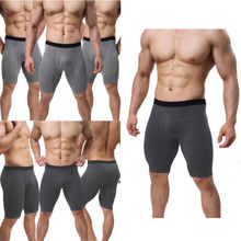 2018 Men Underwear Mid-waist Boxers Shorts Convex Pouch Long Leg Underpants