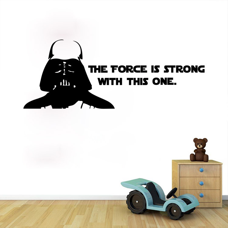Hot !Star wars characte the force is strong with this one living room kids room wall stickers removable waterproof home decor
