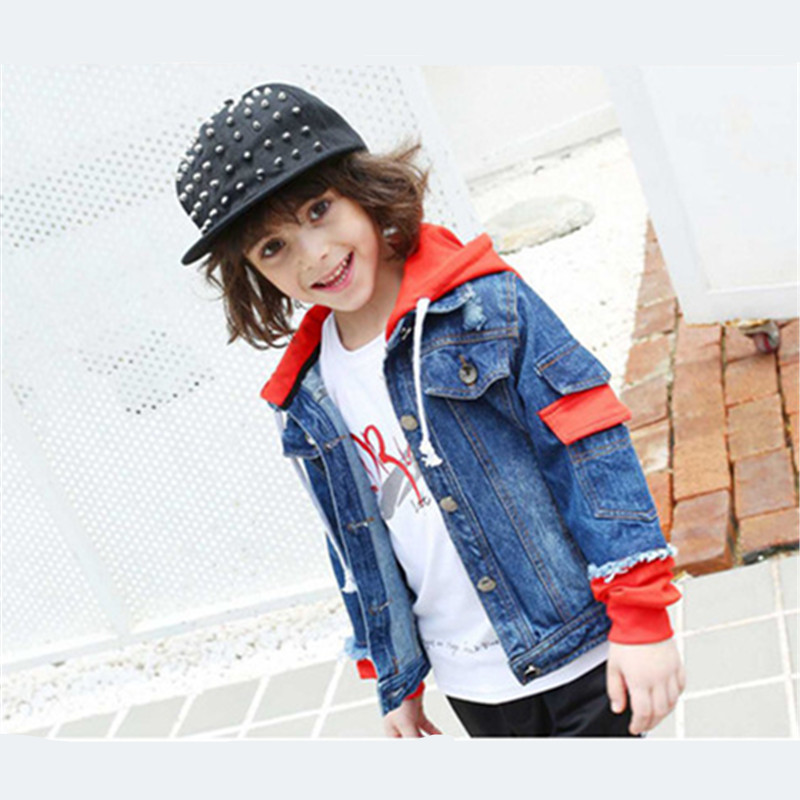 Kids Boys Denim Jacket Hit Color Stitching Design Hooded Outerwear Coat Children Clothing Kids Jacket Denim Coat Size 110-160cm dark wash long denim coat jacket with hooded