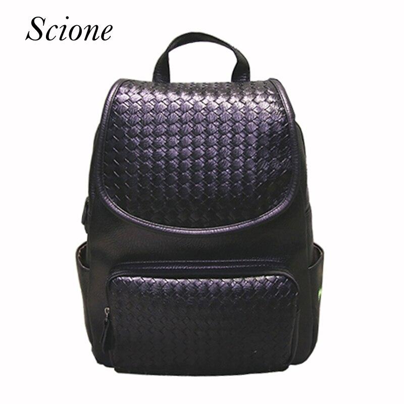 все цены на Famous Brand 2017 Leather Backpack Women School Bags for teenagers girls Casual Woven Travel Laptop Shoulder Bags Mochilas Li713