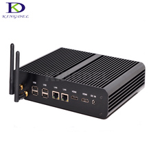 Горячие на Продажу Windows 10 Fanless Mini PC Intel Core i7 5500U 5550U Dual LAN Настольный Компьютер Dual HDMI HTPC с SD Card Reader