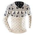2016 Otoño Invierno Suéter de Los Hombres Suéter de la Navidad Jumper V Cuello Deer Slim Fit de Punto Suéteres de Navidad Prendas de Punto