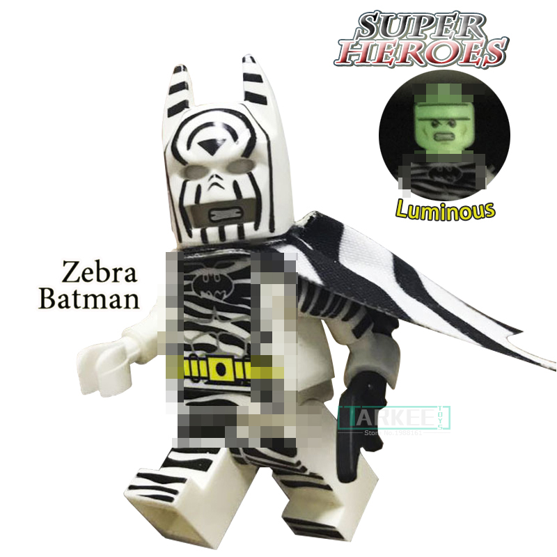 Building Blocks The Head Night Light Zebra Batman Super Heroes Custom The Dark Knight Children Classic Models Kids Toys Figure