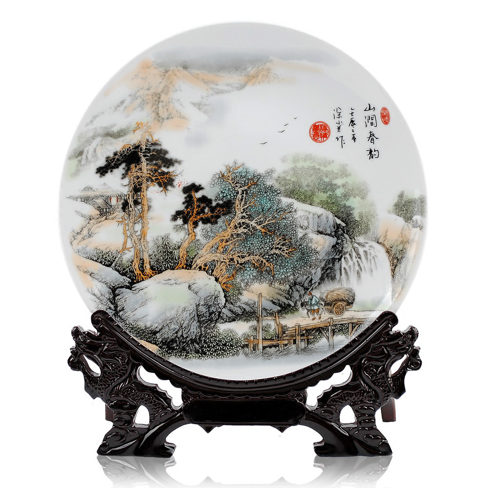 Chinese Landscape Ceramic Ornamental Plate Decoration Dish