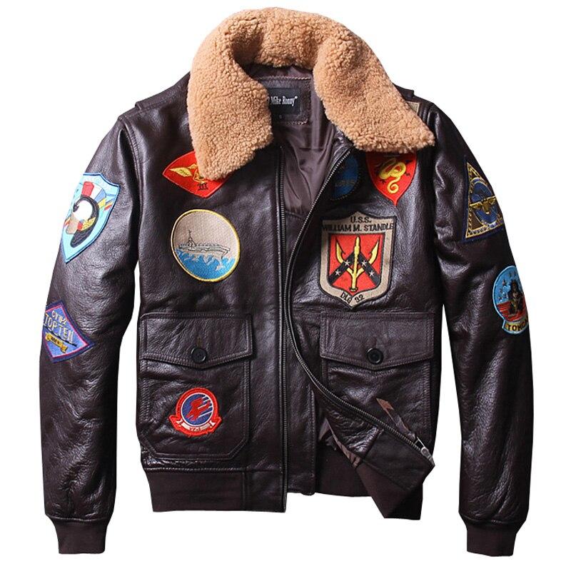 Fabbrica 2018 Nuovi uomini Classica del Cuoio Genuino Rivestimento di Cuoio del Motociclo Tom Cruise Top Gun Air Force Cappotti Invernali