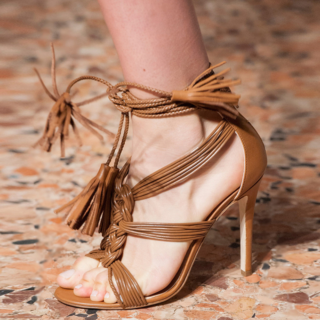9500dadedec US $90.27 45% OFF|Fashion Show Fringe High Heel Sandals Women Sexy Model  Sandale Femme Pumps Lace Up Tassel Stiletto Summer Shoes Sandalias Mujer-in  ...