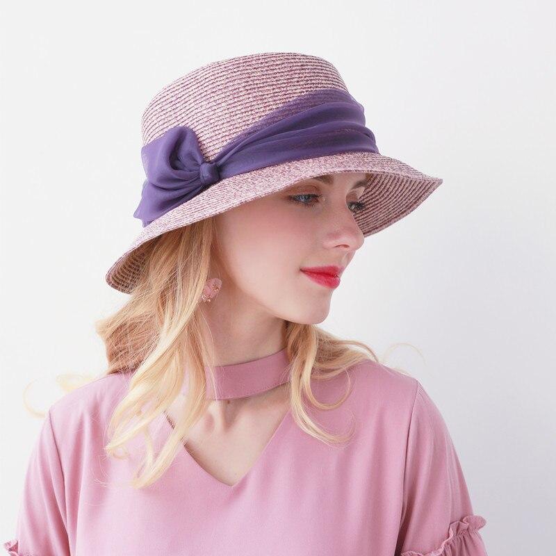 JKP nouveau Printemps et d'été nouvelle couleur mélangée inclinables de paille femmes de chapeau et de mode de paille chapeaux de soleil soleil protection caps MZ-01