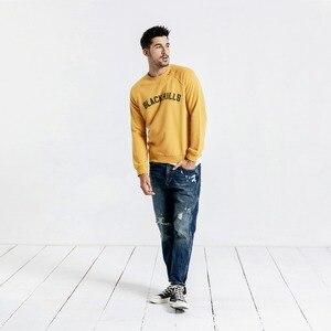 Image 3 - SIMWOOD 2020 봄 뉴 후드 남성 100% 코튼 찢어진 세부 빈티지 고품질 스웨터 편지 플러스 사이즈 까마귀 190083