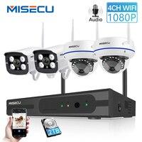 MISECU беспроводной 4CH CCTV системы Wi Fi NVR комплект IP камера Аудио запись Крытый купольная камера с защитой от порчи 1080 P 960 720