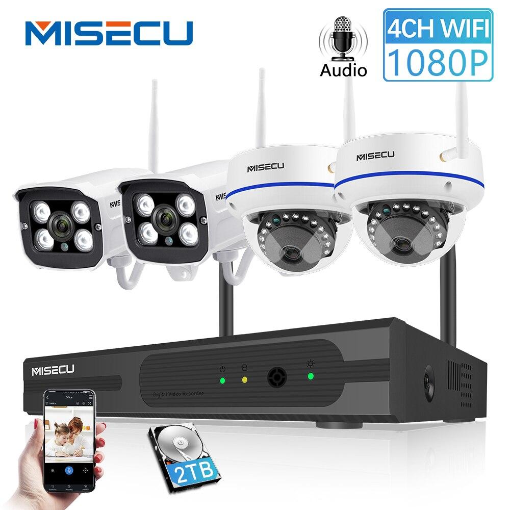 MISECU Sans Fil 4CH système cctv kit nvr wi-fi Caméra IP Enregistrement Audio En Plein Air Intérieur dôme antivandalisme Caméra Wifi 1080 P 960 P 720 P