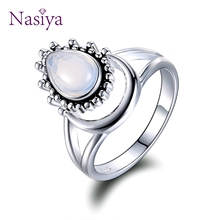 Charm Large Antique Brand Marquise Moonstone Rings 925 Silver Women's Vintage Punk Jewelry Ring Unique Anniversary Party Gift