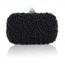 Women Purse Diamond Chain White Evening Bags Party Wedding Black Bolsa  Feminina Women 100% Hand ccdd34fa93ec