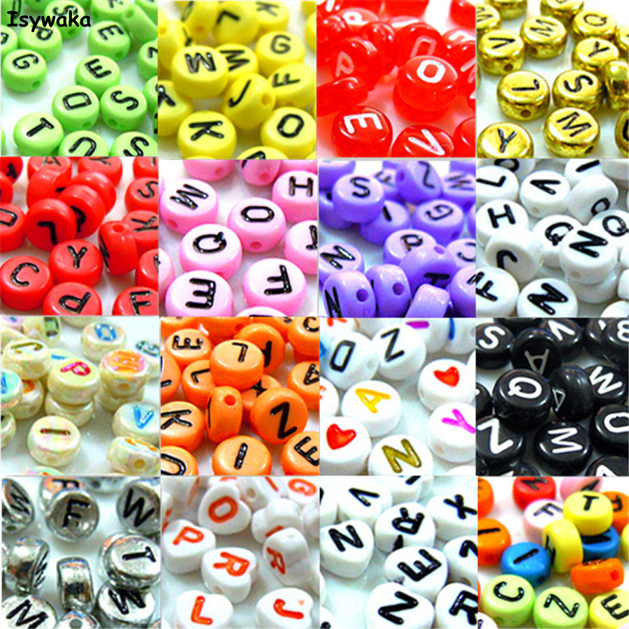 U Pick 18 Colors 100pcs 4*7mm Mixed Coin Alphabet Letter Beads Acrylic Spacer Beads For Loom Band Bracelet