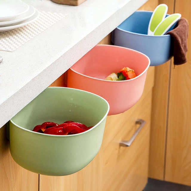 US $3.04 14% OFF|Organizer Multifunction Doors Cabinet Hanging Storage Box  Kitchen Garbage Can Bathroom Cosmetic Container Desktop Trash A2-in Storage  ...