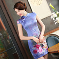2016 New Summer Chinese Traditional Dress Silk Noble Cheongsams Short Sleeve Purple Print Qipao Chinese Evening Dresses