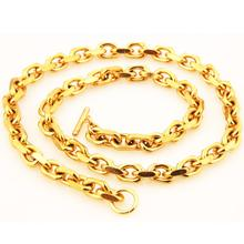 Granny Chic 316L Stainless Steel Necklace 9mm Rolo Link Chain Gold Oval Men Women Fashion Jewelry 16-40 Inch Choose