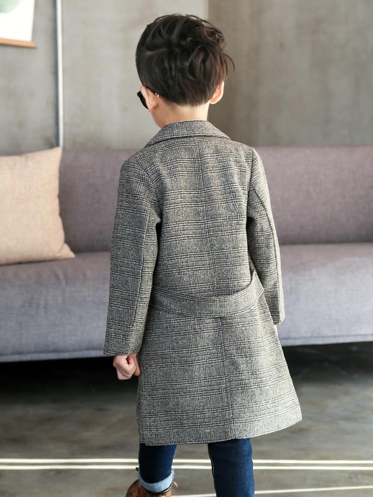 Image 2 - Plus Size Childrens Long Suit Plaid Coat 2020 Spring Fall Boys British Lattice Overcoat Teenage Kids Handsome Windbreaker X315Trench   -