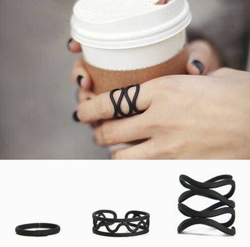 2017 новая мода Черный матовый открытие кольцо три кольца высокого качества Midi Mid Пальцев Костяшки Комплект Прокладок M1528