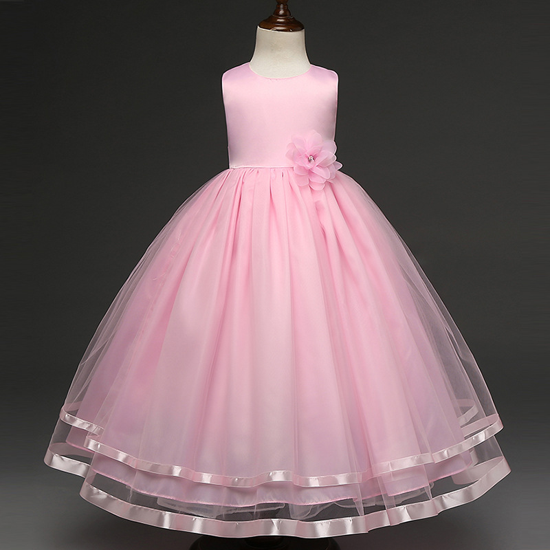 2018 summer hot sale baby girls flower lace tulle full length dresses high quality party princess dress children kids clothes pocket full length tee dress page 11