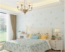цена на beibehang Modern living room nonwoven wall paper simple romantic garden bedroom green TV background papel de parede 3d wallpaper