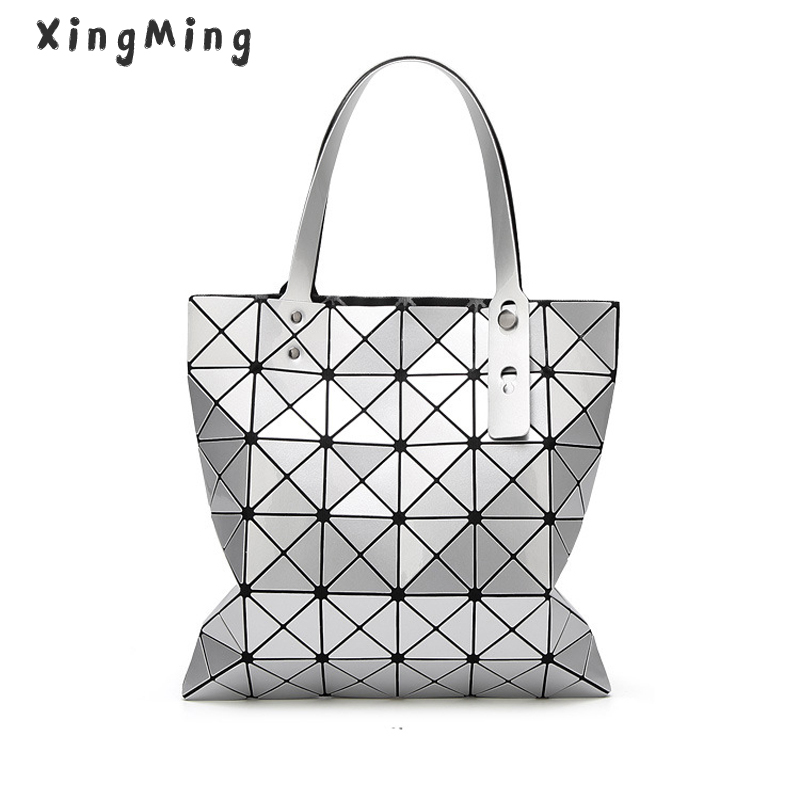 XINGMING Handbag BaoBao Bag Female Folded Geometric Plaid Bag BAO BAO Fashion Casual Tote Women Handbag Mochila Shoulder Bag aresland women bag female folded geometric plaid bag designer fashion casual tote women handbag shoulder bag quality leather