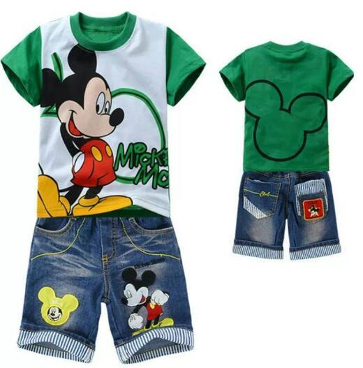 Summer Boys Clothing Sets Cartoon Mickey Baby boys short Sleeve T-shirt And Jeans 2 pcs Suit Children Toddler Casual Clothes Set
