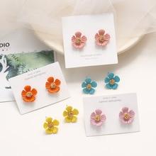 Korean Cute Cartoon Acrylic Flower Petal Fresh Woman Girls Stud Earrings Fashion Jewelry Holiday-KQQE