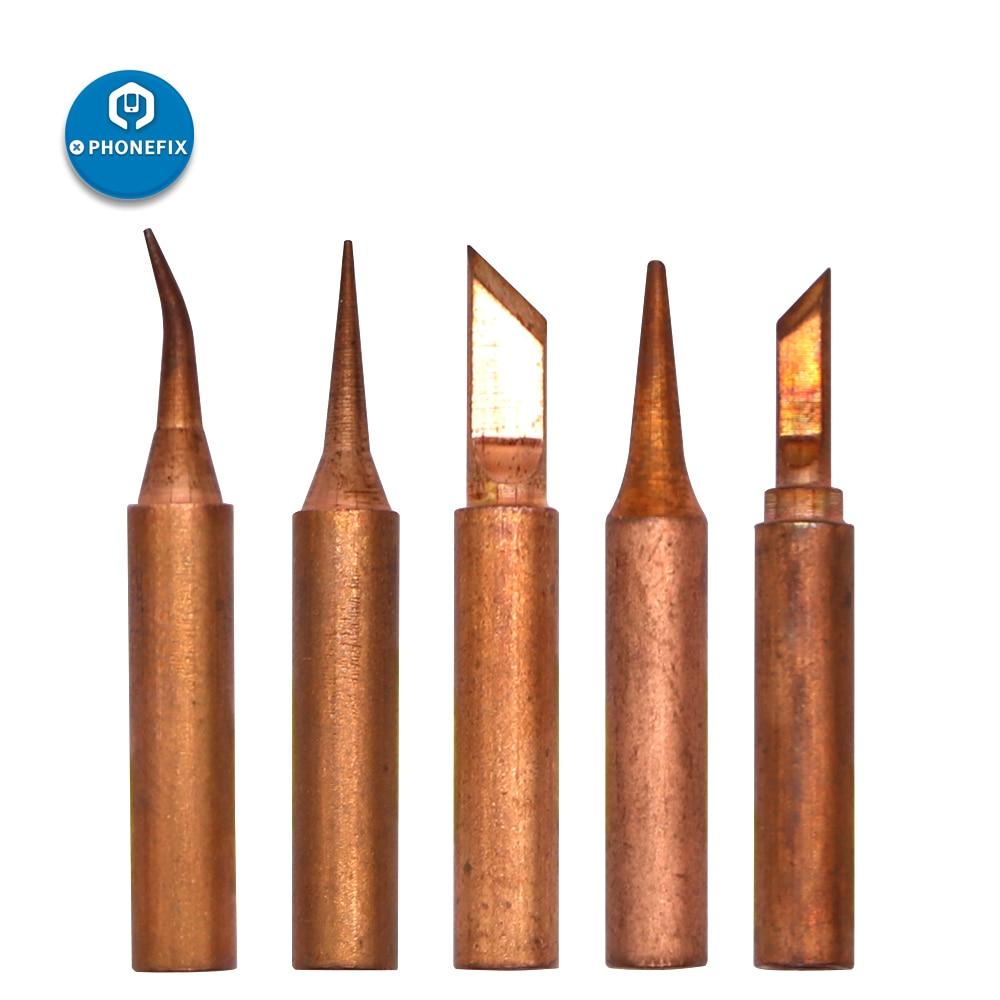 937 5pcs 11 tipos de Cobre Ferro De Solda Dicas Para 936 938 Estações De Solda