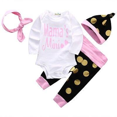 4PCS Otroška oblačila za novorojenčke, jesenska majica z dolgimi rokavi, kombinezon + polka pike, dolge hlače + luštna kapa + roza naglavni trak, otroška oblačila